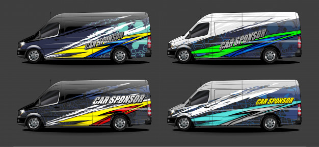 Set Vehicle Graphic Kit Vector Modern Abstract Background Car Wrap Branding Automobile Sticker Decals Livery 16776 254